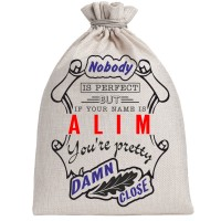 """Мешочек холщовый подарочный """"If your name is Alim, you are pretty…"""""""