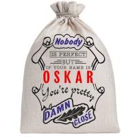 """Мешочек холщовый подарочный """"If your name is Oskar, you are pretty…"""""""
