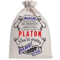 """Мешочек холщовый подарочный """"If your name is Platon, you are pretty…"""""""