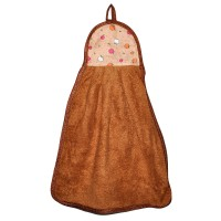 """Полотенце кухонное из микрофибры """"Яблочки"""" (коричневый)"""