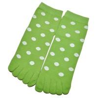 """Носки женские с пальцами """"Горох"""" (зеленый)"""