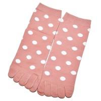 """Носки женские с пальцами """"Горох"""" (пудровый)"""