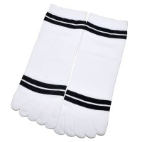 """Носки женские с пальцами """"Две полосы"""" (белый)"""