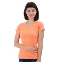 Женская однотонная футболка из хлопка, персиковая (эконом)