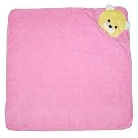 """Детское полотенце с капюшоном, махровое """"Мишка"""" (розовый)"""