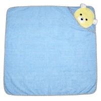 """Детское полотенце с капюшоном, махровое """"Мишка"""" (голубой)"""
