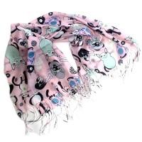 Платок-палантин кашемировый Funny Cats (розовый)