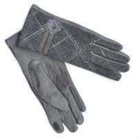"""Перчатки женские трикотажные, """"Комбинация"""", сенсорные (серый)"""