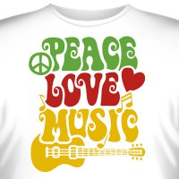 "Футболка ""Peace, Love, Music (Мир, Любовь, Музыка)"""