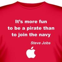 """Футболка """"Its more fun to be a pirate.. (Стив Джобс)"""""""