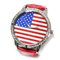 """Часы наручные """"Флаг США"""" (red, со стразами)"""