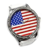 """Часы наручные """"Флаг США"""" (white, со стразами)"""