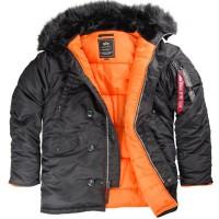 """Куртка-аляска """"Alpha Industries"""", классическая, зауженная (black/orange)"""