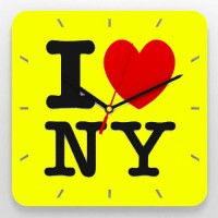 "Часы 3D настенные ""I love NY"" (yellow)"