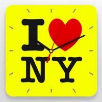 """Часы 3D настенные """"I love NY"""" (yellow)"""