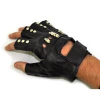 """Перчатки без пальцев кожаные """"Черепа и клепки"""""""