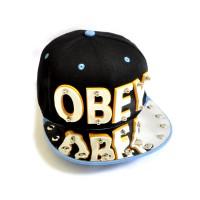 "Бейсболка 3D ""OBEY"" (black & l-blue)"