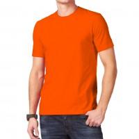 Футболка однотонная, классическая, цвет оранжевый
