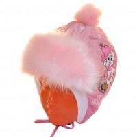 """Шапка детская болоньевая """"Мышонок на льду"""" (бледно-розовый)"""