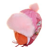 """Шапка детская болоньевая """"Мышонок на льду"""" (розовый)"""
