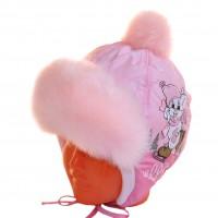 """Шапка детская болоньевая """"Мышонок на льду"""" (нежно-розовый)"""