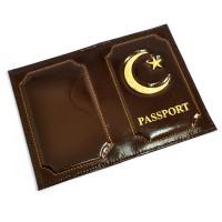 """Обложка для паспорта """"Полумесяц и звезда"""" (brown)"""