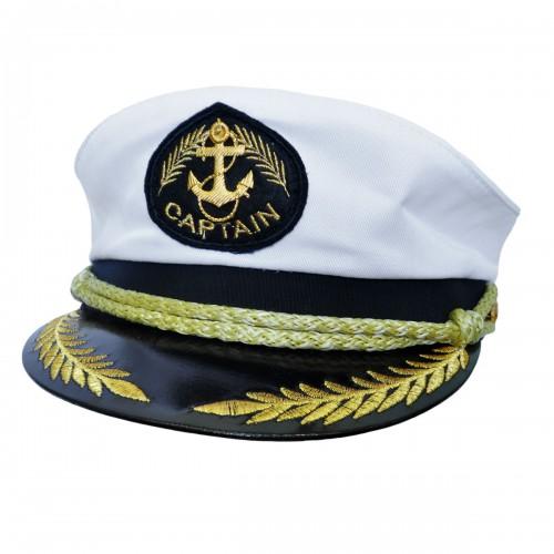 """Фуражка капитана """"Captain"""" с вышивкой (белый)"""