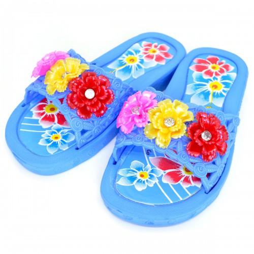 """Сланцы подростковые для девочки """"Три цветка"""" (blue)"""