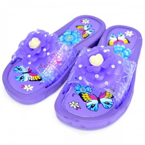 """Сланцы подростковые для девочки """"Бабочка и цветок"""" (purple)"""