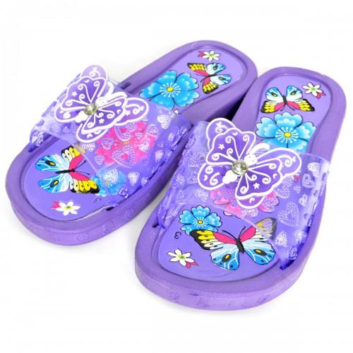 """Сланцы подростковые для девочки """"Бабочка"""" (purple)"""