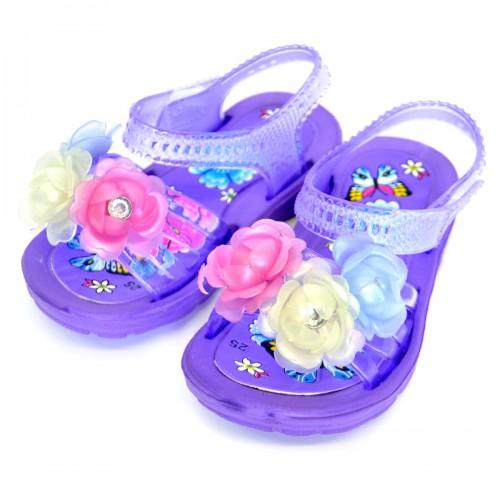 """Сандали детские, пляжные, для девочки """"Три цветка"""" (purple)"""