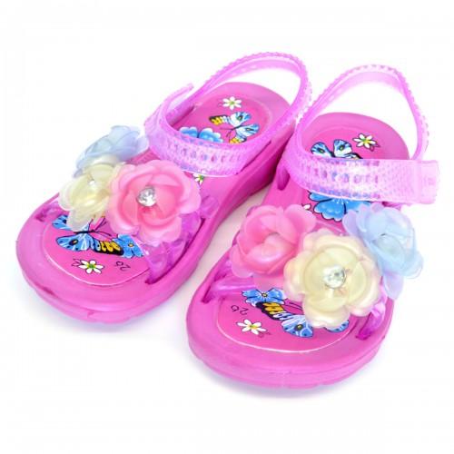 """Сандали детские, пляжные, для девочки """"Три цветка"""" (pink)"""