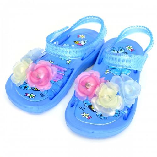 """Сандали детские, пляжные, для девочки """"Три цветка"""" (blue)"""