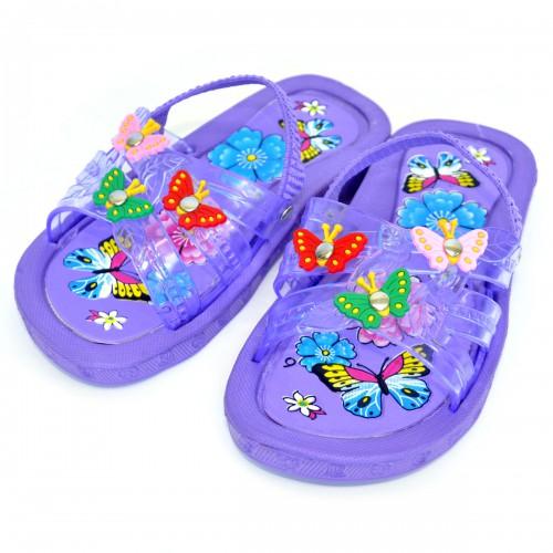 """Сланцы детские для девочки """"Бабочки"""" с резинкой (purple)"""
