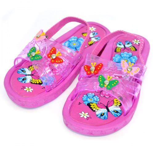 """Сланцы детские для девочки """"Бабочки"""" с резинкой (pink)"""