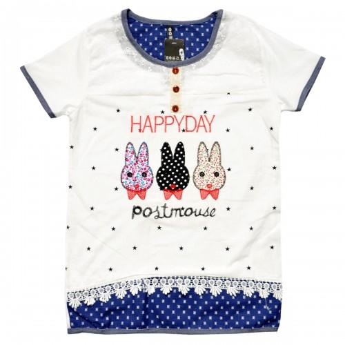 """Блузка подростковая """"Happy Day"""" (с кружевами)"""