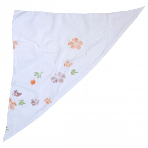 Бандана-косынка женская белая с цветами