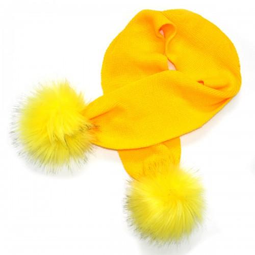 """Шарф детский """"Пушистые пумпошки"""" (желтый)"""