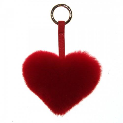 Меховое сердце, брелок (натуральный мех) - 02