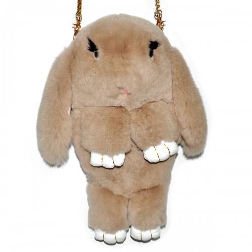 """Меховая сумка рюкзак """"Кролик"""" (бежевый)"""