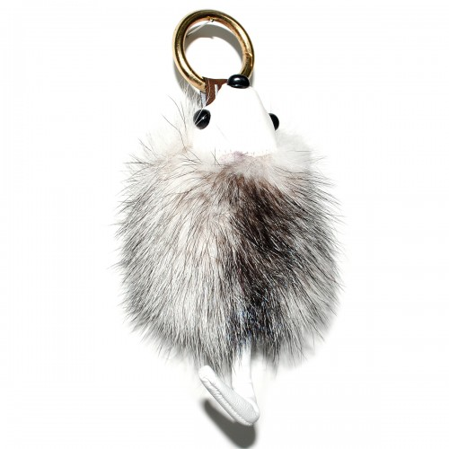 """Меховой брелок """"Ежик с хвостиком"""" (натуральный мех - норка) на сумку -06"""