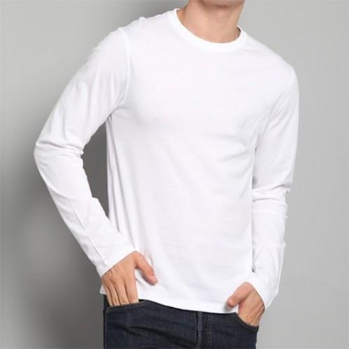 Футболка однотонная, с длинным рукавом (белый)