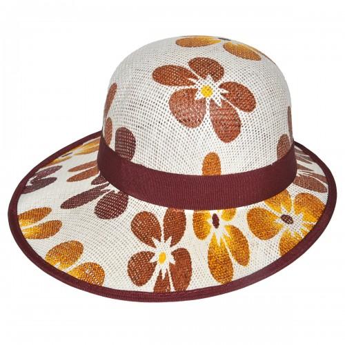 "Шляпа женская, плетеная ""Цветы"" -07"