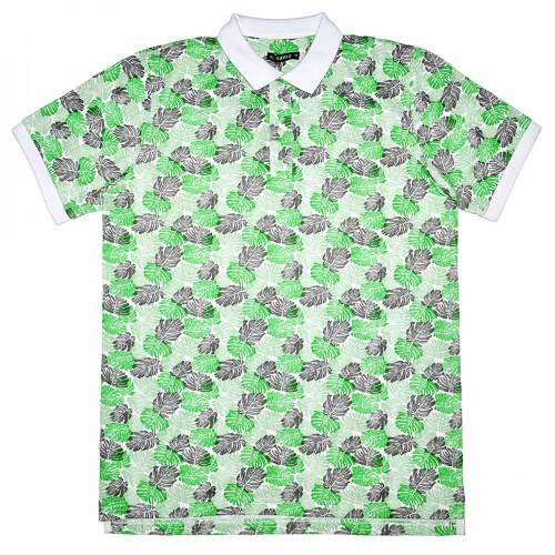 """Рубашка поло белая """"Листья"""" (Samo)"""