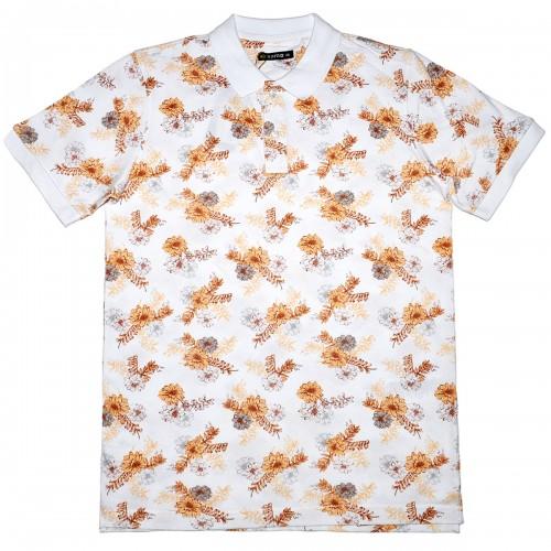 """Рубашка поло белая """"Цветы"""" (Samo)"""