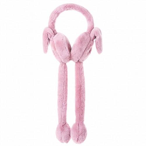 Наушники меховые с двигающимися ушками, розовая