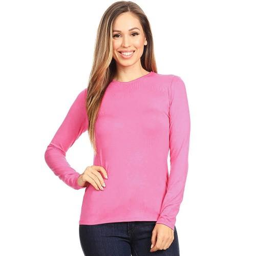 Футболка женская с длинным рукавом (розовый)