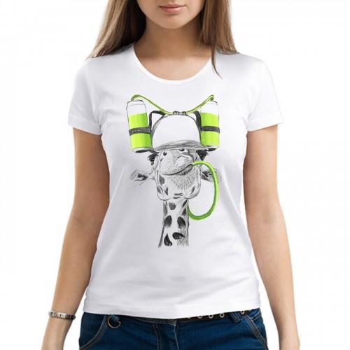 """Футболка с принтом, женская """"Счастливый жираф"""""""