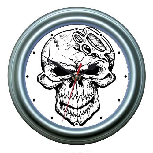 """Часы настенные """"Кастет в черепе"""""""