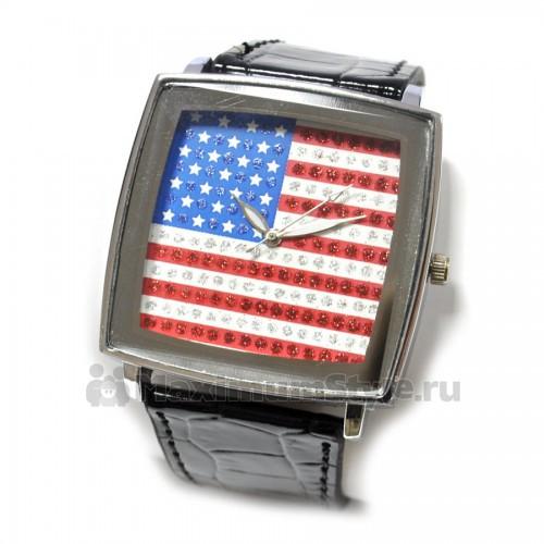 """Часы наручные """"Флаг США -2"""" (black)"""